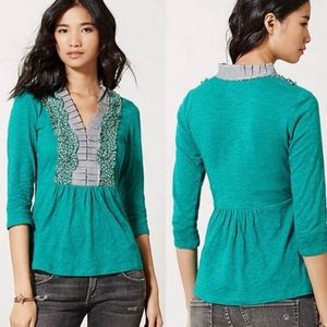 Anthropologie Deletta Slub Ruffle Blouse